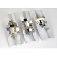 Composición 3 lienzos de imagen abstracta tonos grises y tostados con relieve 90x90h cm 30x90h cm