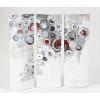 Composición 3 lienzos de imagen abstracta círculos tonos grises y rojos con relieve 90x90h cm 30x90h cm
