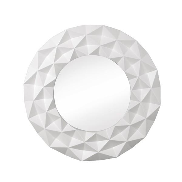 Espejo redondo marco resina blanco geom trico origami 100 for Espejo redondo blanco