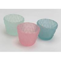 Set 3 portavelas cristal colores rosa, verde y azul