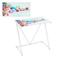 Mesa escritorio cristal templado estampado piezas puzzle colores 80x50x79cm