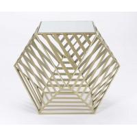 Mesa baja hexagonal metálica dorada con base espejo Gold 72x72x55h cm