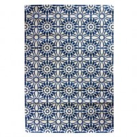 Alfombra algodón impresa baldosa azul noche 120x180 cm
