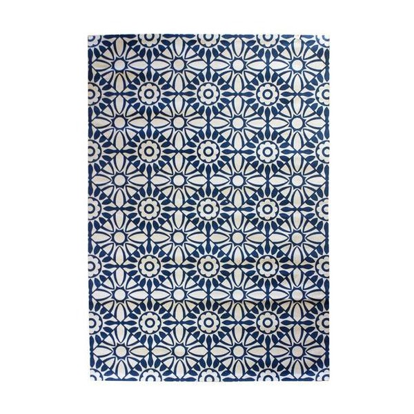 Alfombra algod n impresa baldosa azul noche 120x180 cm - Alfombra algodon ...