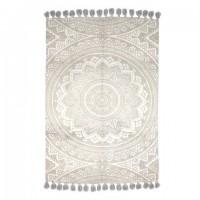 Alfombra algodón impresa Mandala beige con flecos 120x180 cm