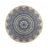 Alfombra redonda algodón impresa Mandala azul 90 cm