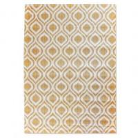 Alfombra algodón impreso estampada blanco y mostaza 120x180 cm