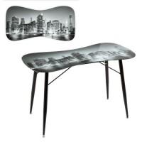 Mesa escritorio cristal templado estampado rascacielos blanco y negro City 120x60x75cm