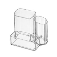 Organizador cosméticos transparente alto 3 dptos 13x10x10 cm