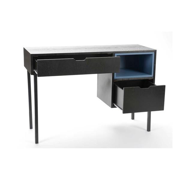 Mesa escritorio madera negra con 2 cajones y estante azul for Mesa escritorio con cajones