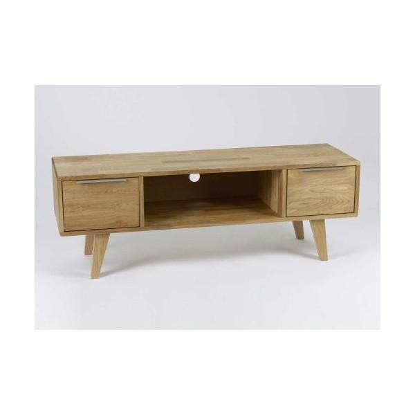 Mueble bajo televisi n madera de roble 130x40x45h cm - Muebles de madera de roble ...