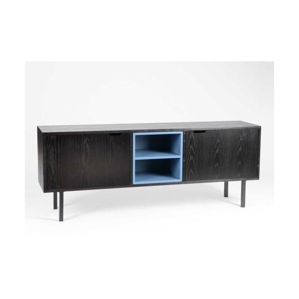 Mueble bajo televisi n dm y metal negro y azul 156x35x60h cm for Mueble bajo cocina 60 cm