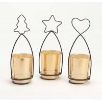 Portavelas metálico corazón, estrella y árbol navideño 7x18cm