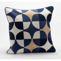 Cojín algodón con relleno geométrico dorado y azul círculos 40x40 cm
