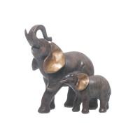 Figura poliresina 2 Elefantes marrón y dorado 17,50cm