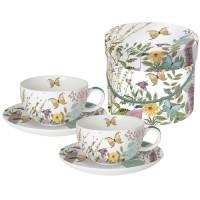 Set 2 tazas cappuccino con plato decoradas mariposas Kensington Garden PPD 20clx2unidades