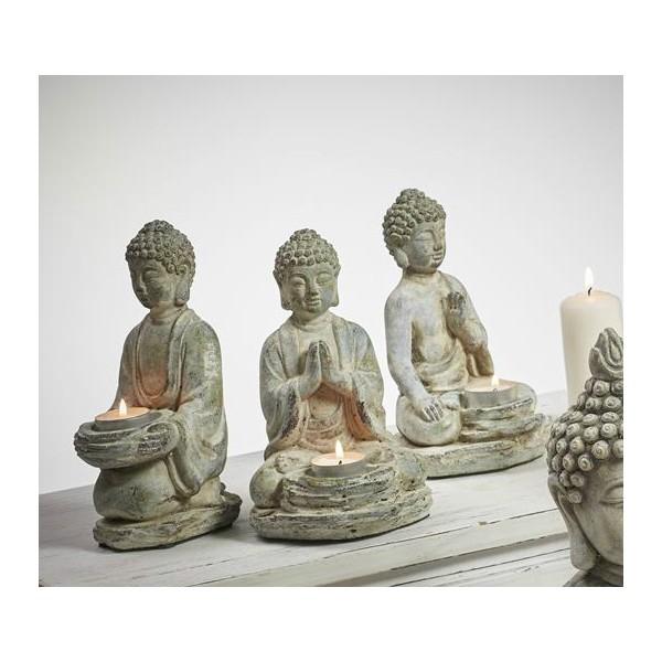 Figura cemento buda sentado portavelas 12x10x20cm - Figuras buda decoracion ...