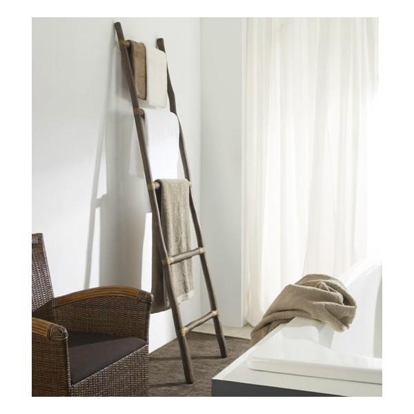 Escalera toallero madera teca 5 pelda os 50x200cm for Escaleras 5 peldanos