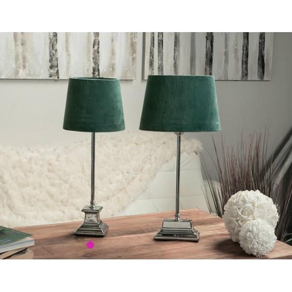 L mpara mesa pie met lico con pantalla terciopelo verde 20x52h cm - Lampara de pie con mesa ...