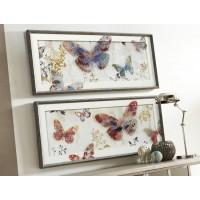 Cuadro cristal mariposas doble fondo 2 modelos 43x104 cm