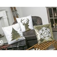 Cojín lentejuelas blanco y dorado con relleno Árbol Navidad 45x45cm