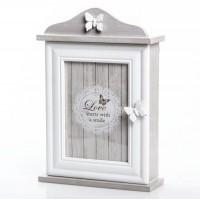 Caja con cuelga llaves con puerta madera porta fotos y 6 colgadores Mariposas 21x7x31cm