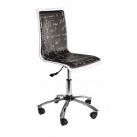Silla oficina elevable y con ruedas negra y blanca estampada letras Young Smoke 36,50x40x43,50-55,50cm