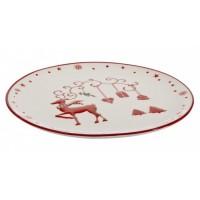 Plato navidad cerámico crema y rojo reno 26 cm