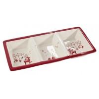 Fuente navidad cerámica entremesera 3 espacios reno 32,3x15,7x4,7h cm
