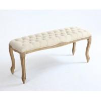 Pie de cama clásico patas madera tallada y capitone beige 110x36xh48cm