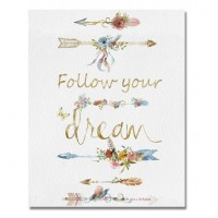 Cuadro lienzo cuadrado serigrafiado flechas Follow your Dreams 28x35cm