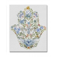 Cuadro lienzo cuadrado serigrafiado Mano de Fátima Jamsa flores 28x35cm