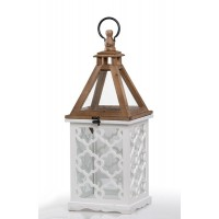 Farol madera calada blanca y natural con cristal pequeño 22x22x55h cm