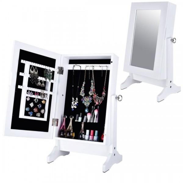 Espejo joyero de sobremesa blanco con pie 33 5x23 5x59 5 cm for Espejo de pie blanco