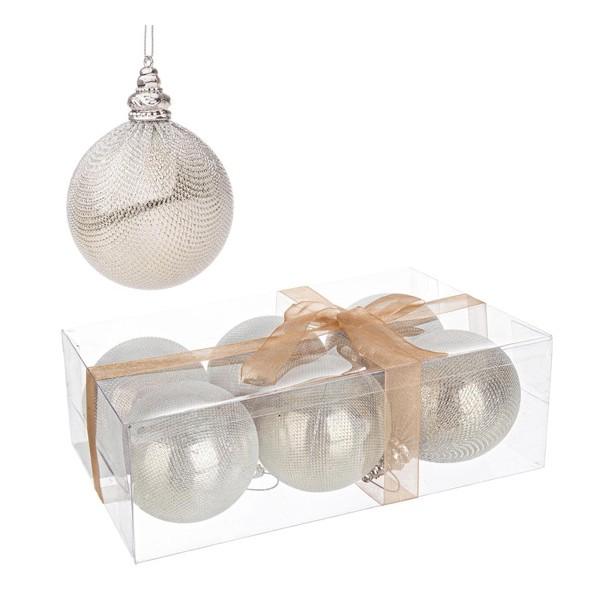 Set 6 bolas rbol de navidad pl stica champagne bijoux 8 cm - Bolas de arbol de navidad ...