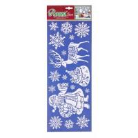 Pegatinas Navideñas blanco nieve Papa Noel con Reno 52,5x20,5h cm