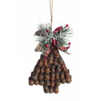 Adorno árbol de Navidad en madera Pino Jonas con lazo 10x15cm