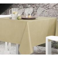 Mantel antimanchas teflón lino natural beige 150x150 cm