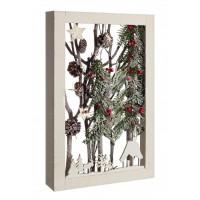 Cuadro madera decoración navideña Paisaje nevado con troncos y bolitas rojas 47x30x6,5h cm