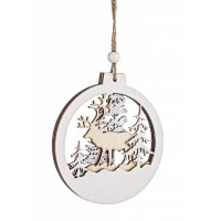 Adorno árbol de Navidad en madera paisaje pinos y reno troquelados 10cm