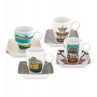 Juego 4 tazas café con plato porcelana Alma do Rio Janeiro de Vista Alegre
