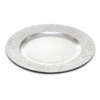 Bajo plato resina redondo plateado borde relieve 33cm
