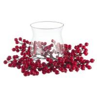 Portavelas navideño redondo bolas acebo y vaso cristal