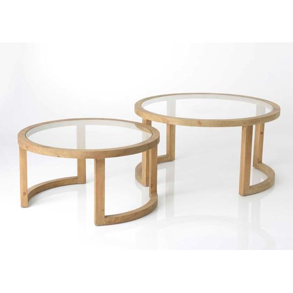 Mesa baja redonda madera y cristal grande for Mesa redonda cristal 60