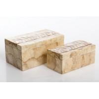 Caja con tapa rectangular nácar pequeña marrón con decoración 18x9xh7,5cm