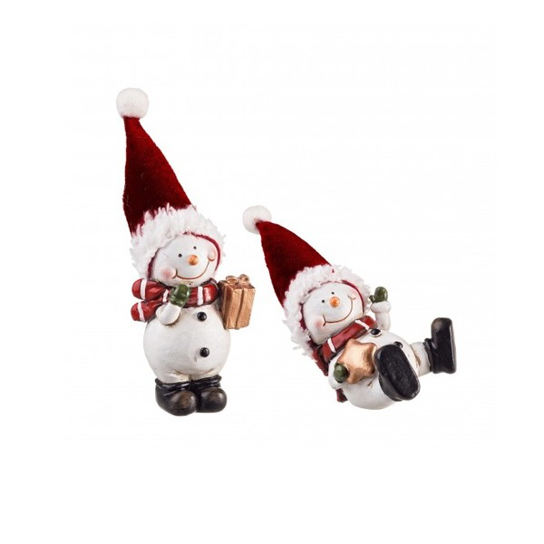 Figura navide a cer mica mu eco de nieve con gorro con for Figuras de nieve navidenas