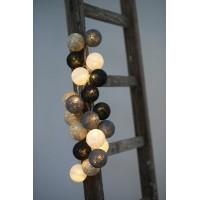 Guirnalda bolas de hilos 20 led tonos gris y negro