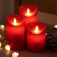 Set 3 velas cera rojas con luz led Sara