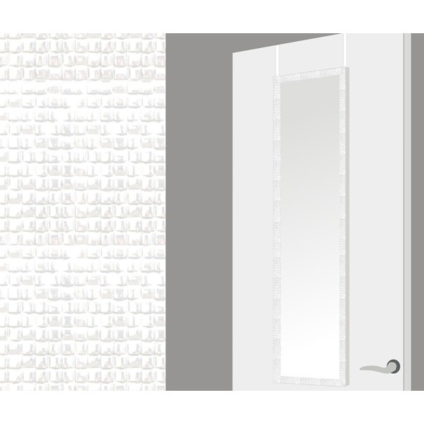 Espejo para puerta marco blanco cuadrados 35x125h cm - Espejo marco blanco ...