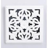 Espejo con panel madera tallado cuadrado blanco decapado 30x30 cm